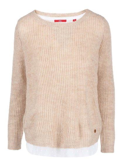 Béžový dámsky sveter s všitou bielou halenkou s.Oliver
