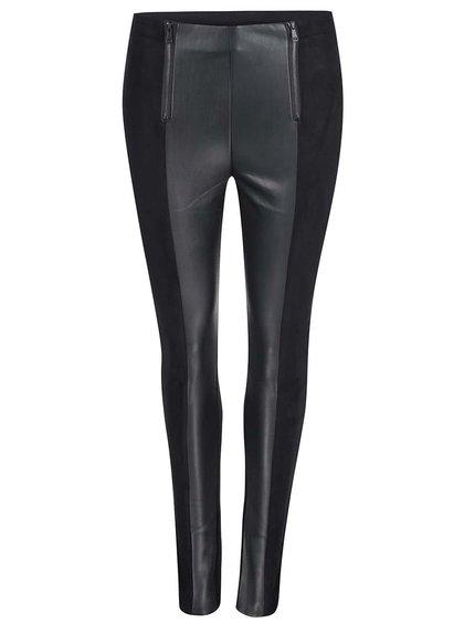 Čierne nohavice s koženkovými detailmi Haily´s Tasha