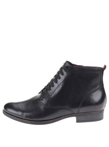 Černé kožené kotníkové boty se šněrováním Tamaris