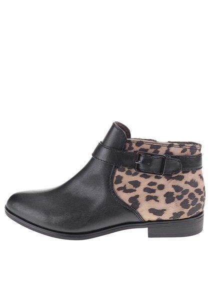 Černé kotníkové boty s leopardím vzorem Tamaris