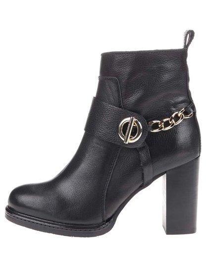 Čierne kožené členkové topánky na podpätku Tommy Hilfiger Hillary