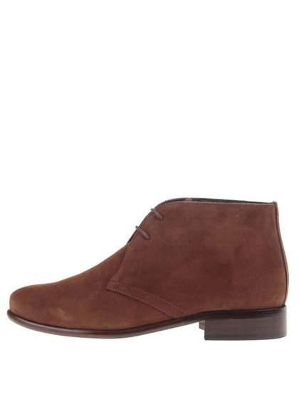 Hnedé kožené členkové topánky so semišovou úpravou OJJU