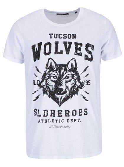 Bílé triko s potiskem vlka !Solid Raju