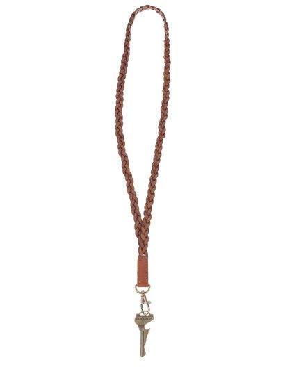 Hnedá kožená šnúrka na kľúče Lucleon Forli