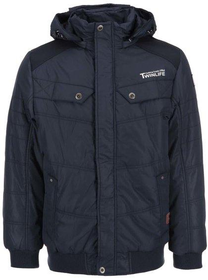 Tmavě modrá bunda s kapucí Twinlife