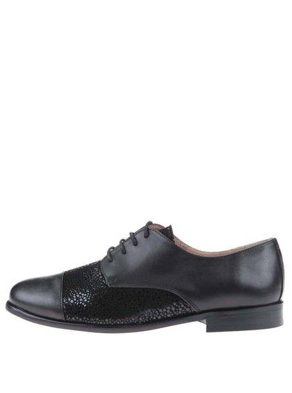 Pantofi din piele negri cu model OJJU