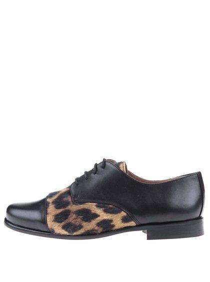 Čierne kožené poltopánky s leopardím vzorom OJJU
