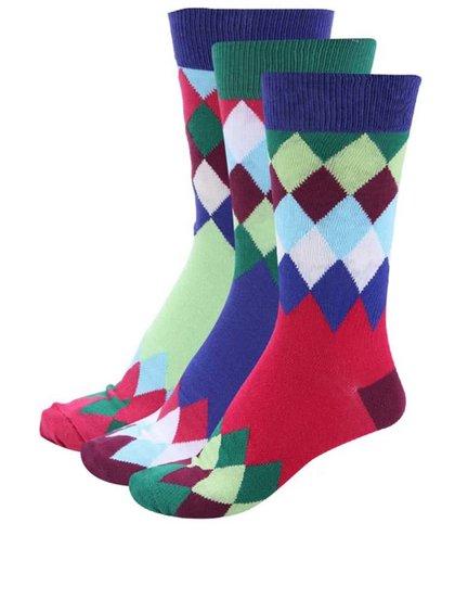 Súprava troch farebných pánskych ponožiek s károvaným vzorom Oddsocks James