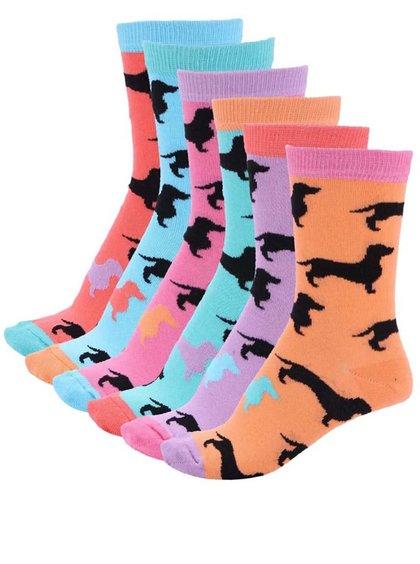 Sada šesti barevných dámských ponožek s jezevčíky Oddsocks Hotdog