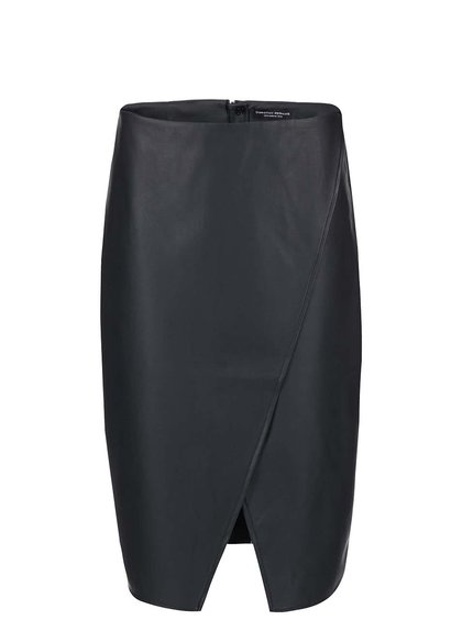 Černá koženková sukně s rozparkem Dorothy Perkins