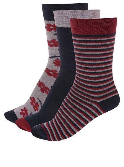 Tri páry farebných ponožiek s kvetinami a pruhmi OJJU