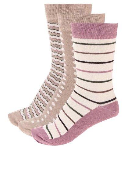 Barevné pruhované ponožky v sadě tří párů OJJU