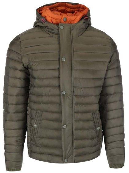 Jachetă matlasată cu glugă în combinația verde și portocaliu de la Dstrezzed