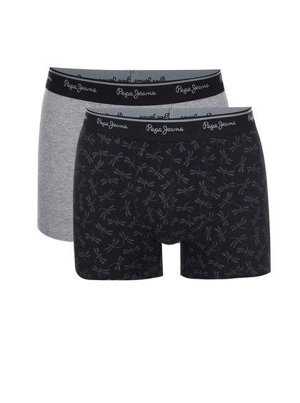 Kolekcia dvoch sivo-čiernych boxeriek Pepe Jeans Barking