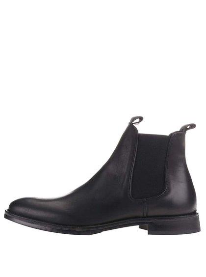 Čierne kožené chelsea topánky Selected