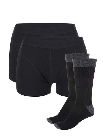 Sada dvou černých boxerek a dvou párů šedo-černých ponožek Selected Homme