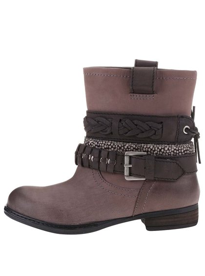 Sivo-hnedé dámske kožené topánky s ozdobnými pásikmi Bullboxer
