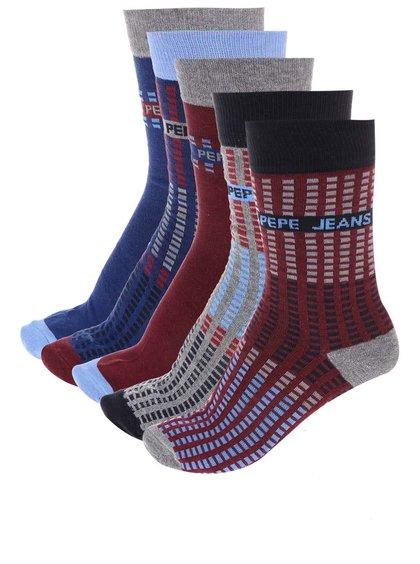 Kolekcia piatich párov vínovo-modrých ponožiek Pepe Jeans Romford
