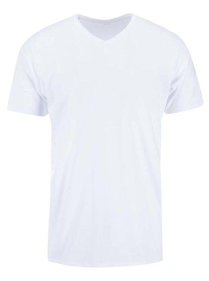 Bílé triko s véčkovým výstřihem Selected Homme Pima