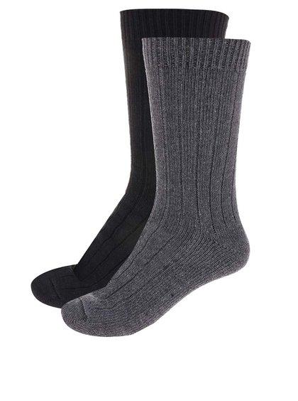 Balení dvou párů černých a šedých ponožek Selected Homme North