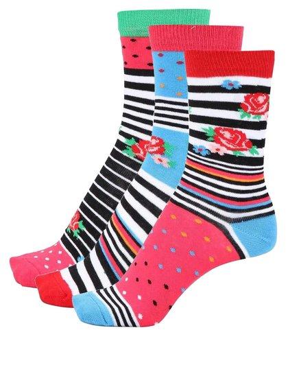 Sada tří dámských ponožek s kytičkami a proužky Oddsocks Milly
