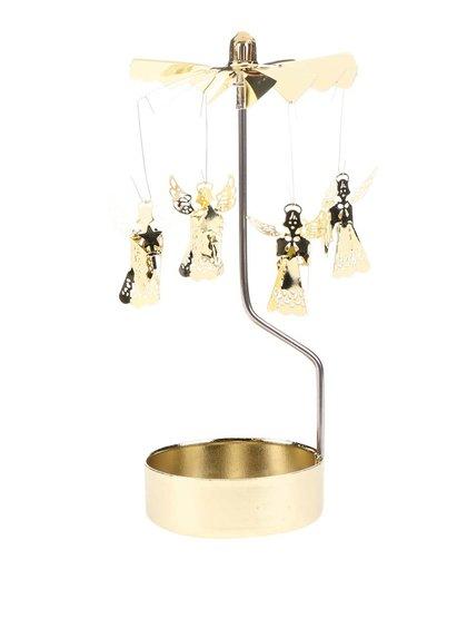 Otáčivý svícen ve zlaté barvě Sass & Belle Rotary Angel