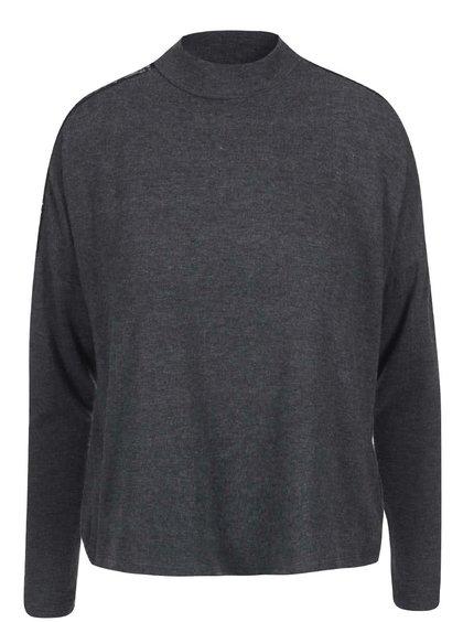 Tmavě šedý volnější svetr s detailem krajky ONLY June