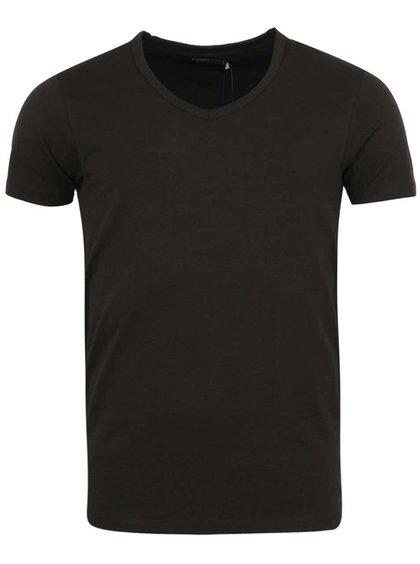 Černé triko s véčkovým výstřihem Jack & Jones Basic
