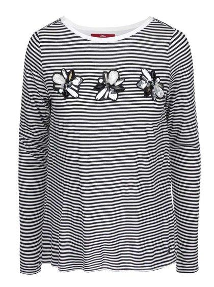 Tricou de damă, cu dungi și mâneci lungi s.Oliver - negru cu alb