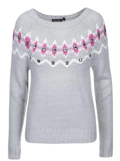 Sivý sveter s lesklými detailmi Brave Soul