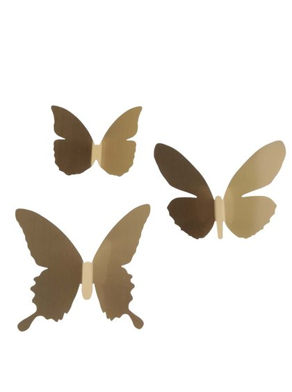 Devítidílná sada nástěnných dekorací-motýlů ve zlaté barvě Umbra Pluff