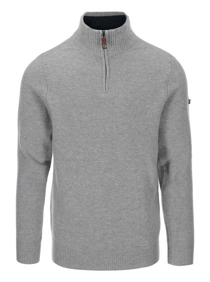 Sivý vlnený sveter s golierom na zips Ben Sherman
