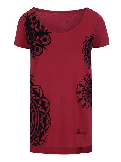 Červené tričko so vzormi Desigual Adelma Rep
