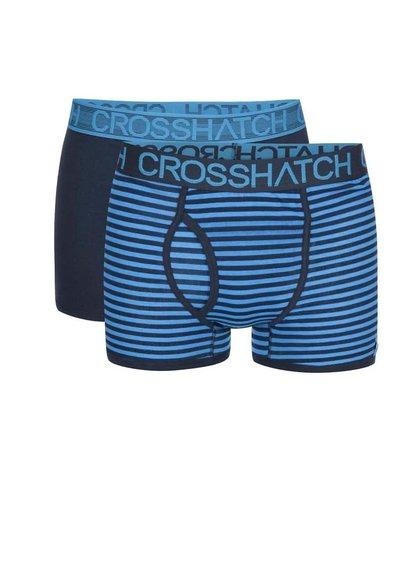 Set de două perechi de boxeri albaștri cu dungi Crosshatch Glowsync