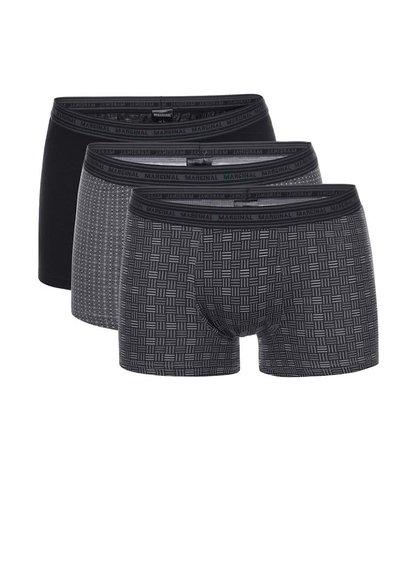 Sada tří černých vzorovaných boxerek Marginal