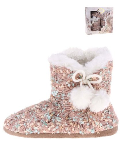 Ružové pletené papuče s brmbolcom Something Special by Moon Vintage