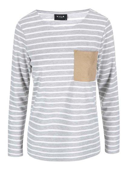 Šedé pruhované tričko VILA Recalls
