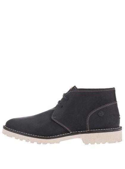 Čierne pánske kožené členkové topánky Tommy Hilfiger Moh