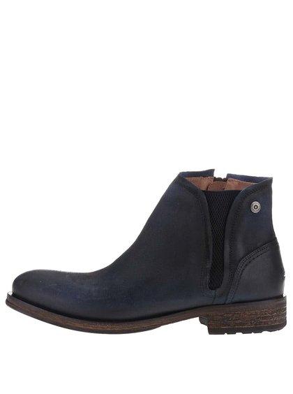Tmavomodré kožené pánske členkové topánky Tommy Hilfiger Dillan