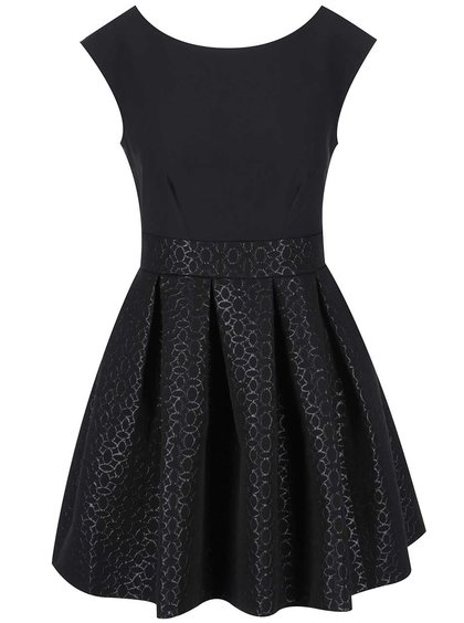 Černé šaty se vzorovanou sukní Closet
