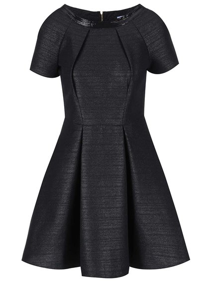 Rochie neagră metalică cu mânecă scurtă Closet
