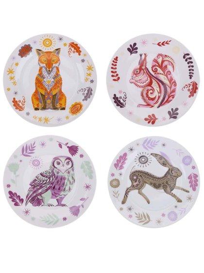 Biela porcelánová súprava štyroch tanierikov s farebným vzorom lesných zvierat Magpie Sideplates