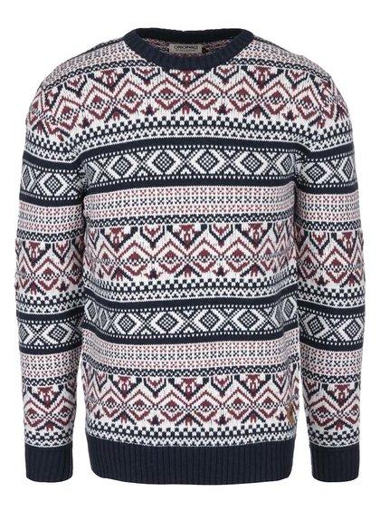 Tmavomodrý sveter s červeno-bielym nórskym vzorom Jack & Jones Winter