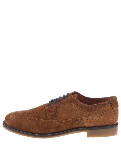Pantofi Derby din piele întoarsă Dice Beckworth - maro cu talpă maro