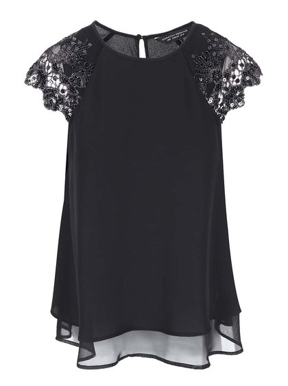 Bluză Dorothy Perkins neagră cu dantelă