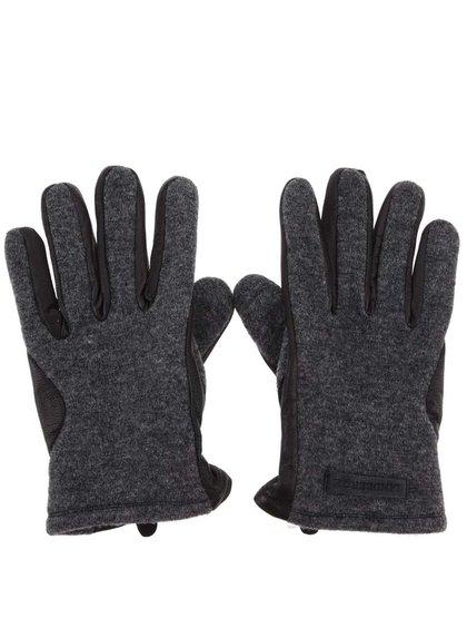 Sivo-čierne kožené rukavice Lindbergh