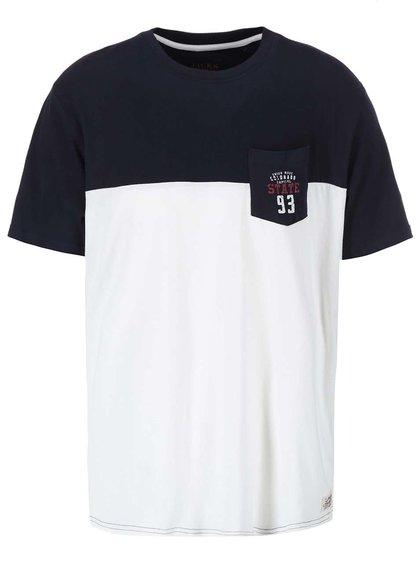 Krémovo-modré tričko s náprsným vreckom Jacks