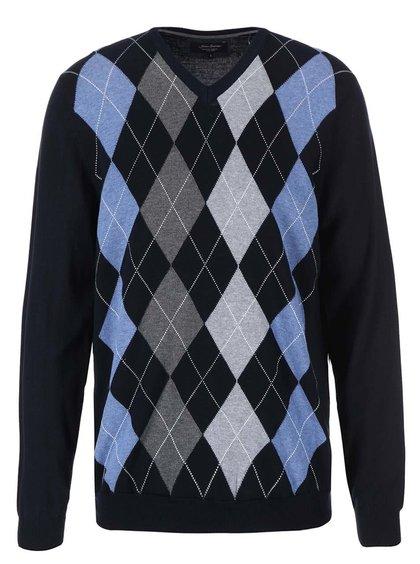 Tmavomodrý sveter so sivo-modrými kosoštvorcami Jacks