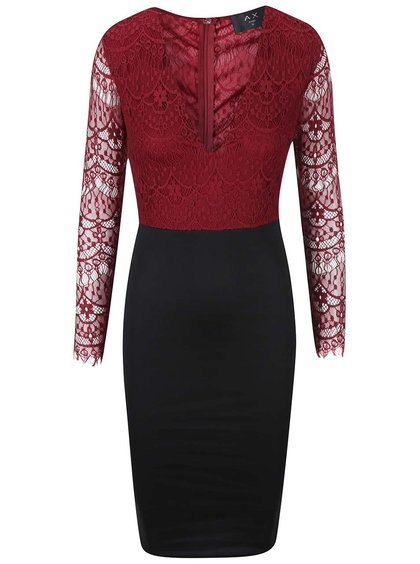 Vínové šaty s čiernou sukňou AX Paris