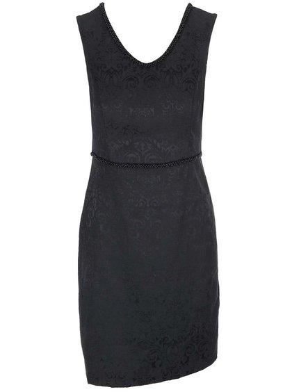 Rochie neagră cu imprimeu, cu mărgele în zona taliei, de la Fever London